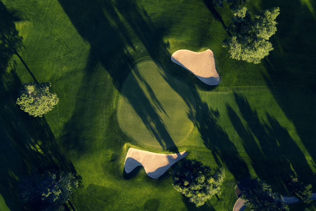Golf green aerial view
