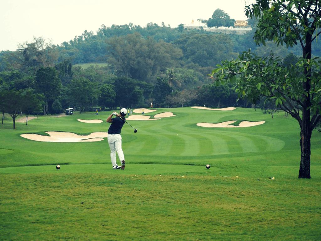 Golfer hitting driver