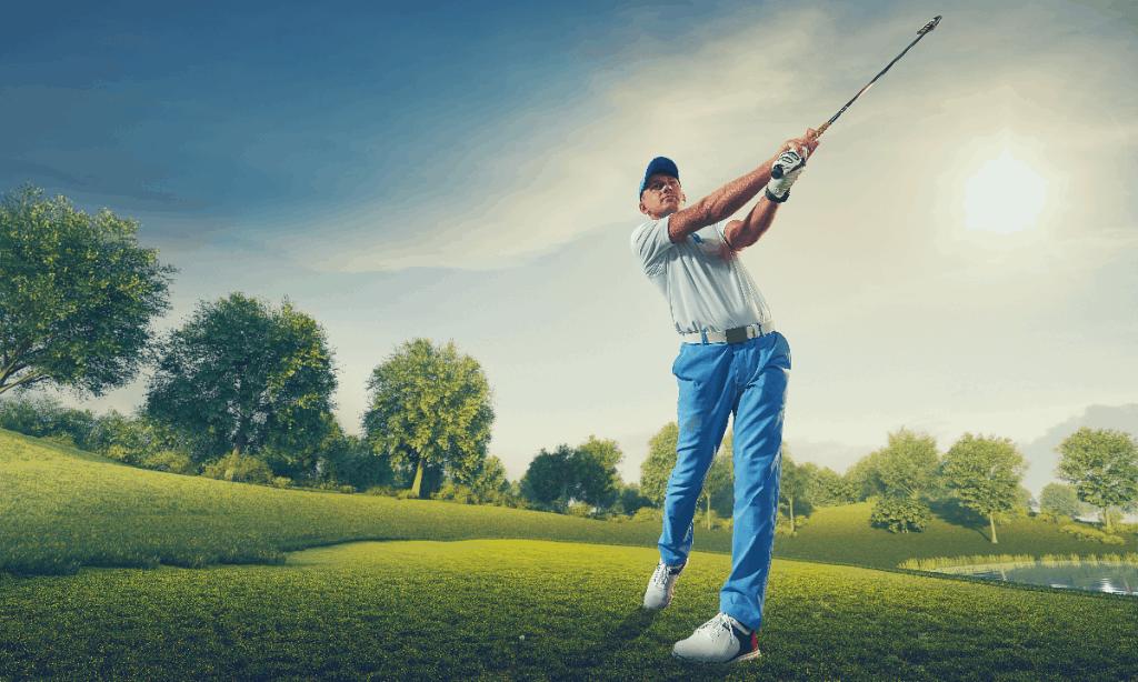 golfer swing golf club