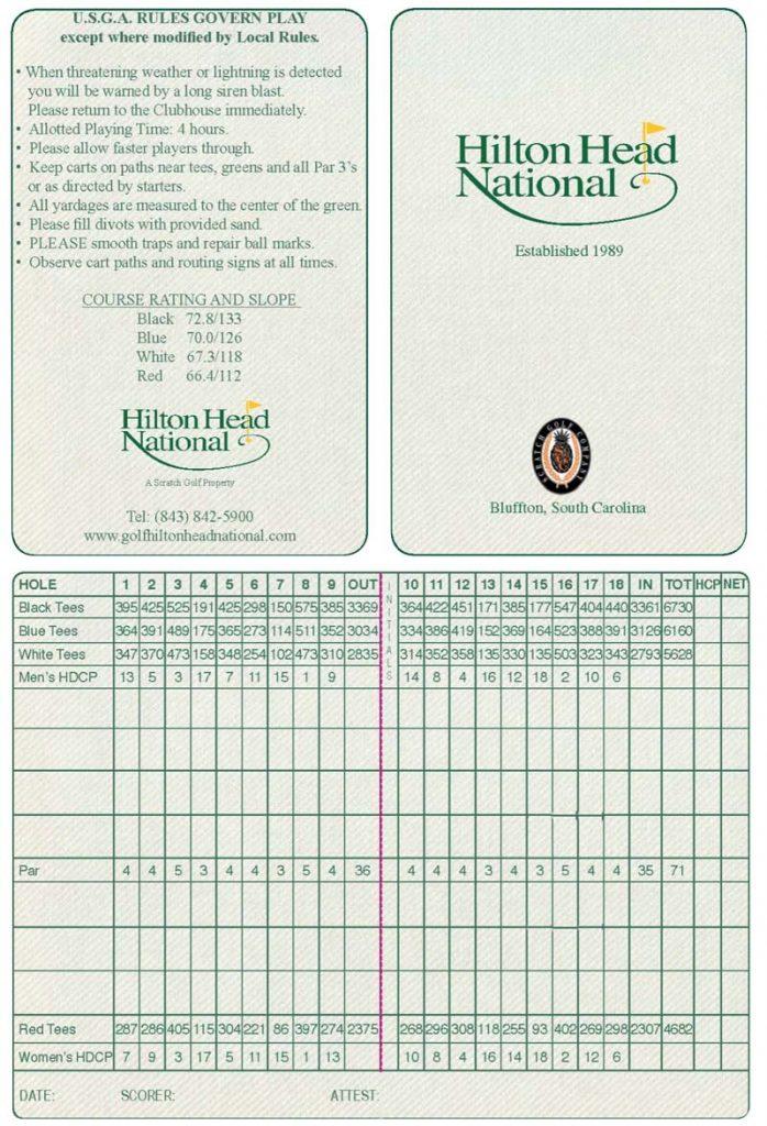 Hilton Head National Scorecard